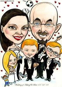 Cartoon portrait of a family by Allan Cavanagh, Caricatures Ireland