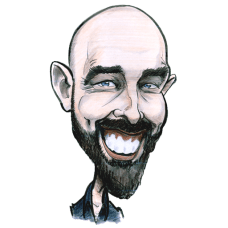 Self-portrait by Allan Cavanagh Irish Caricature Artist