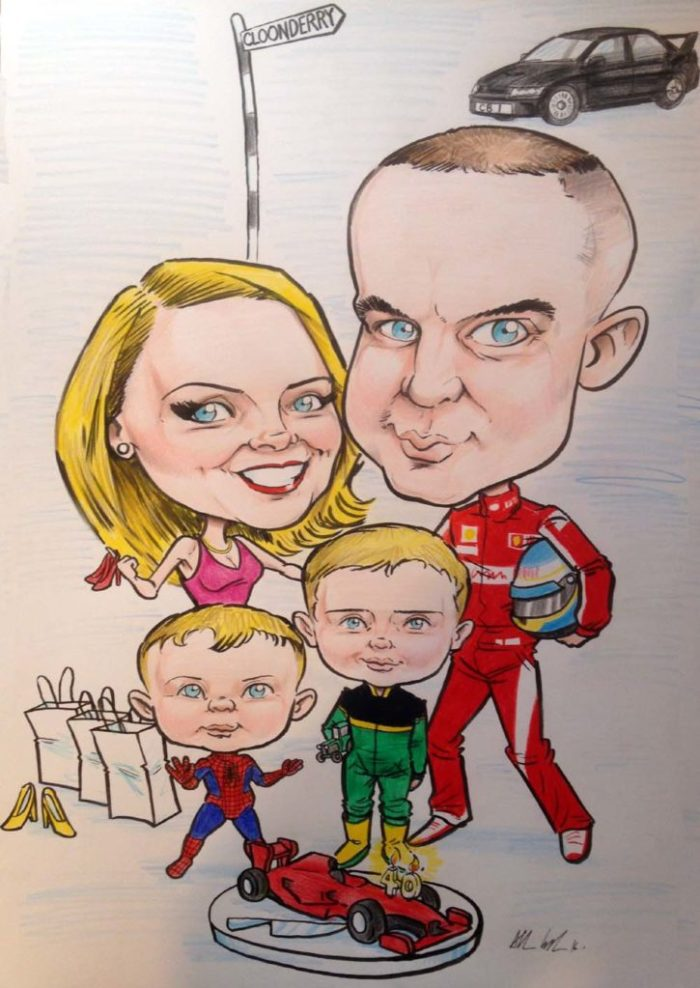 family caricature with man wearing Formula 1 overalls with Ferrari birthday cake, boy in Spider-Man outfit, boy in John Deere overalls. Caricatures Ireland by Allan Cavanagh