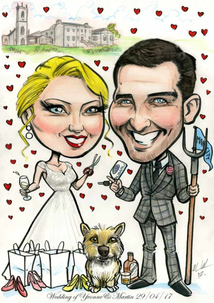 Caricature bride and groom Glenlo Abbey Galway