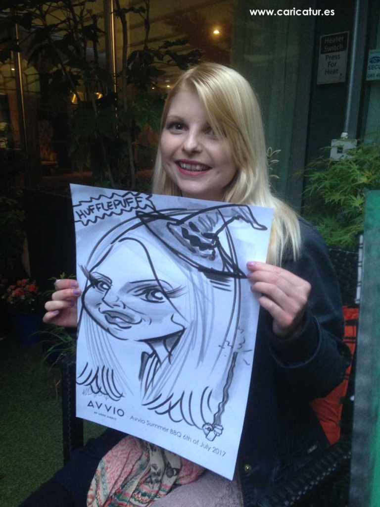 Blonde woman with Harry Potter inspired caricature