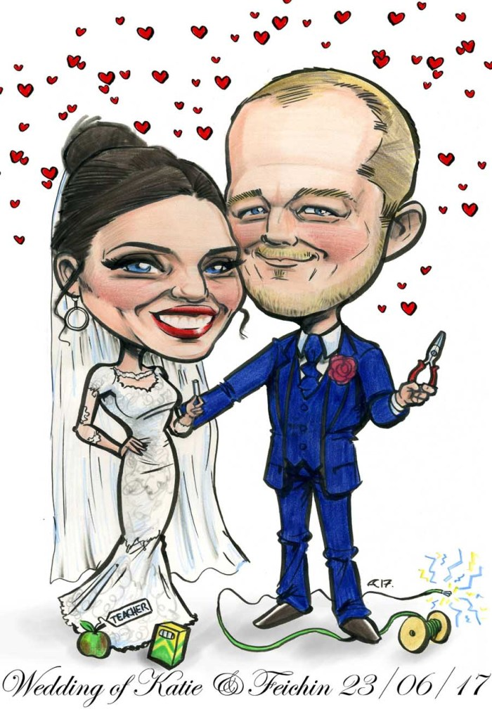 canvas signing boards caricature couple weddings