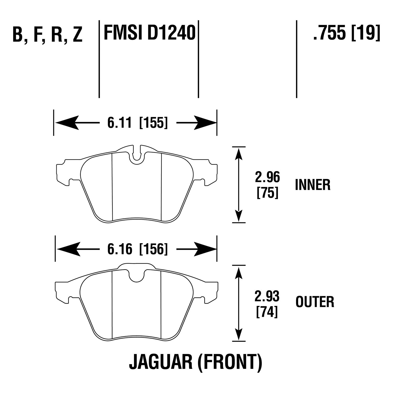 For Jaguar Xf 09 15 Hawk High Performance Street Race