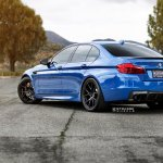 Blue Bmw 5 Series Rolling On Matte Black Strasse Wheels Carid Com Gallery