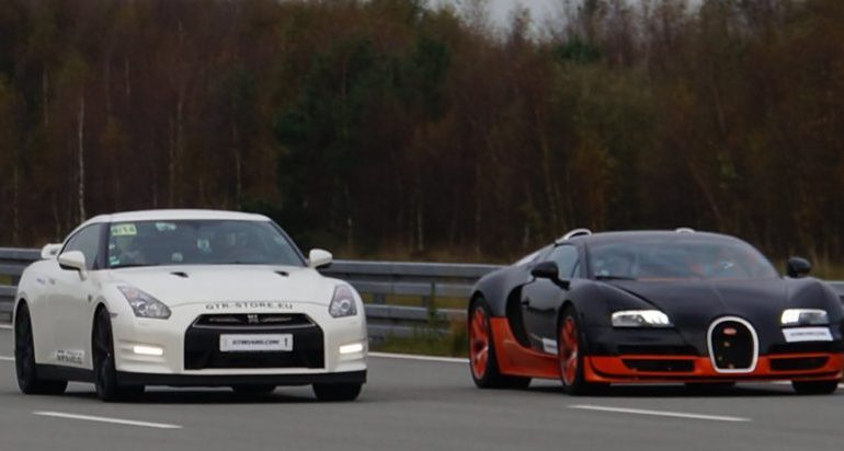 Nissan GTR VS Bugatti Veyron & Nissan gagne