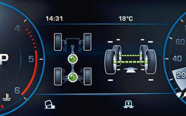 Ecran du système 4x4 du Range Rover 2013