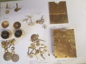 Labeled striking carriage clock parts