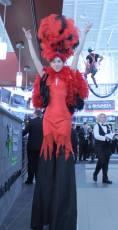 Stilt Walking Showgirl Fire Theme in Red Deer