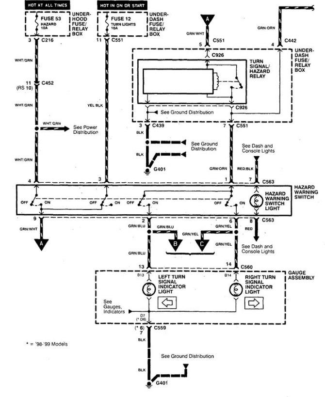acura integra 1998  2001  wiring diagrams  hazard lamp