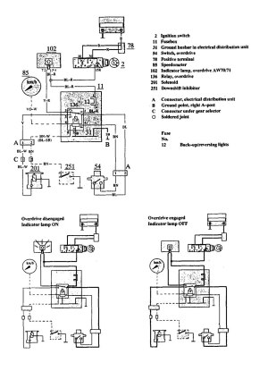 Volvo 740 (1991)  wiring diagrams  overdrive controls  CARKNOWLEDGE