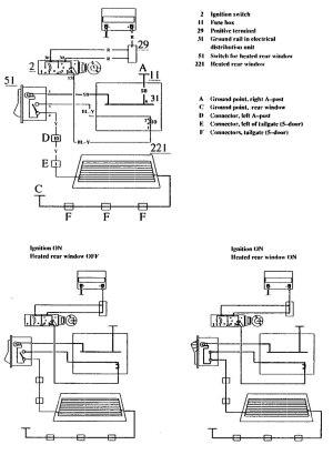 Volvo 740 (1990)  wiring diagrams  rear window defogger