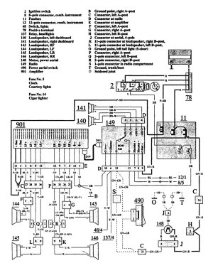 Volvo 940 (1991)  wiring diagrams  audio  CARKNOWLEDGE