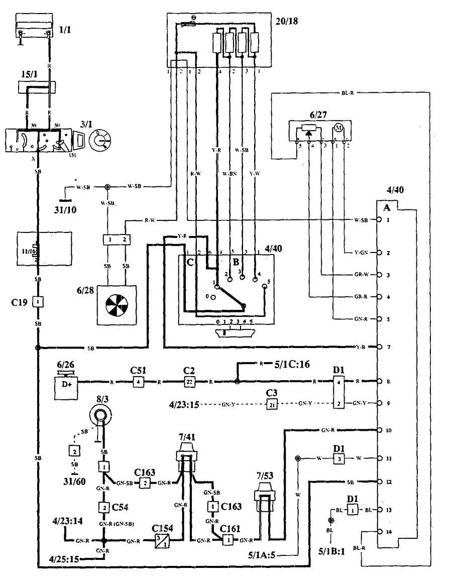 Volvo 940 1994 wiring diagrams hvac controls carknowledge 2009 audi s4 sedan interior 1994