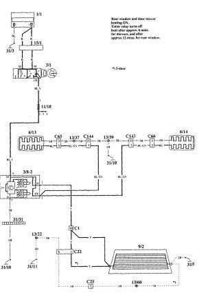 Volvo 940 (1995)  wiring diagrams  rear window defogger
