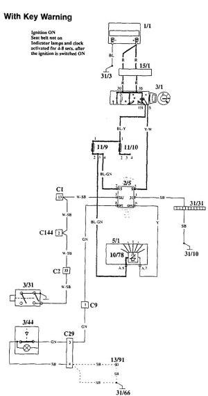 Volvo 940 (1995)  wiring diagrams  key warning  CARKNOWLEDGE