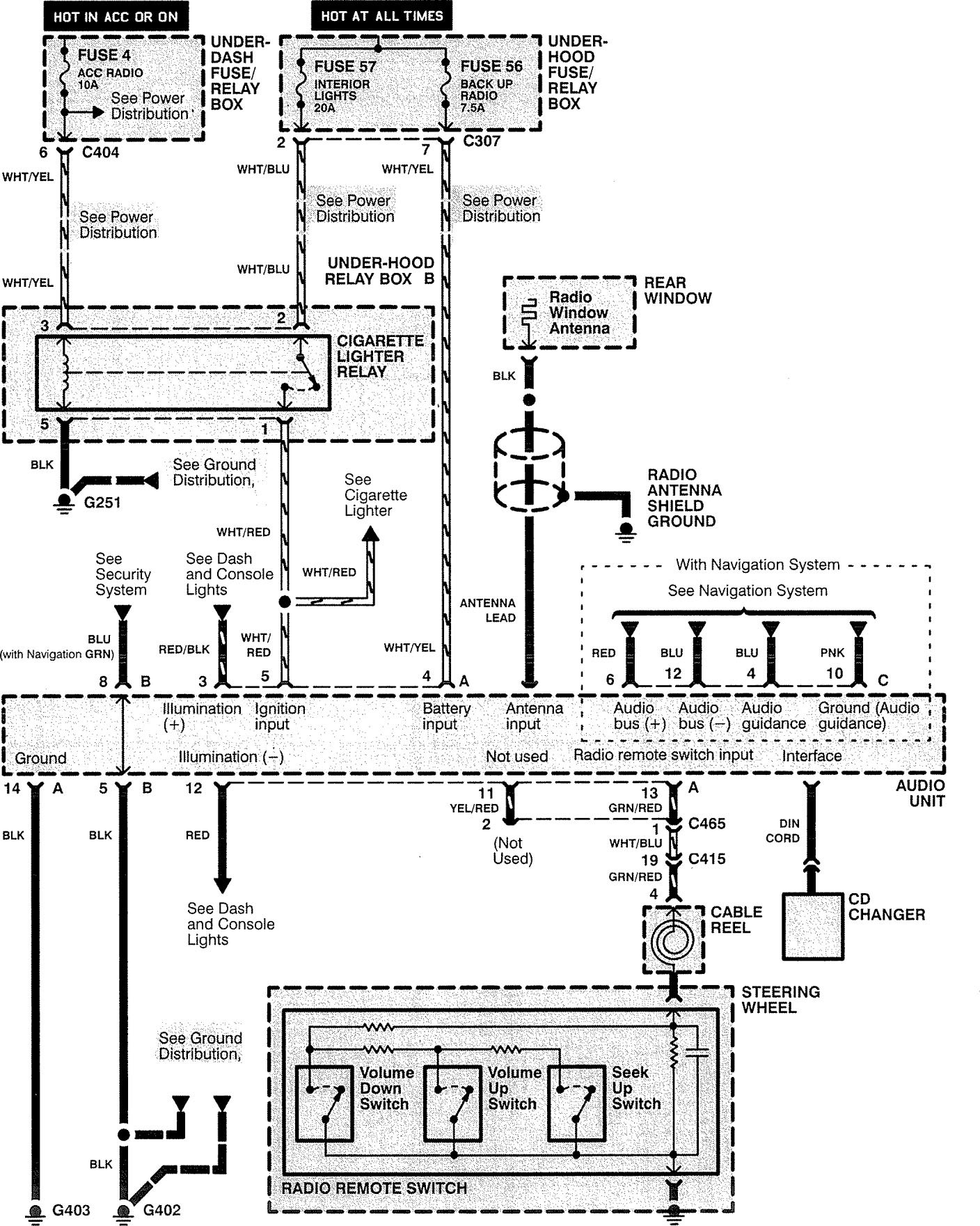 Acura rl 1996 1997 wiring diagrams audio carknowledge