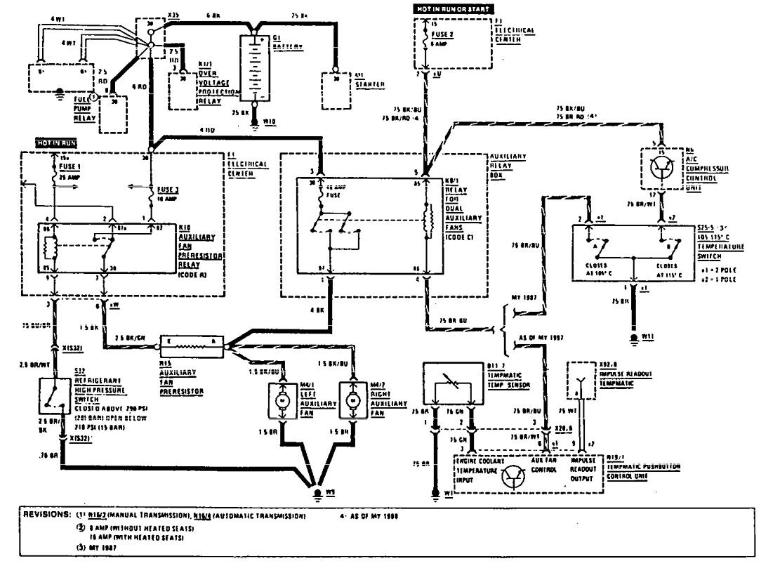 Mercedes benz 190e 1990 wiring diagrams cooling fans