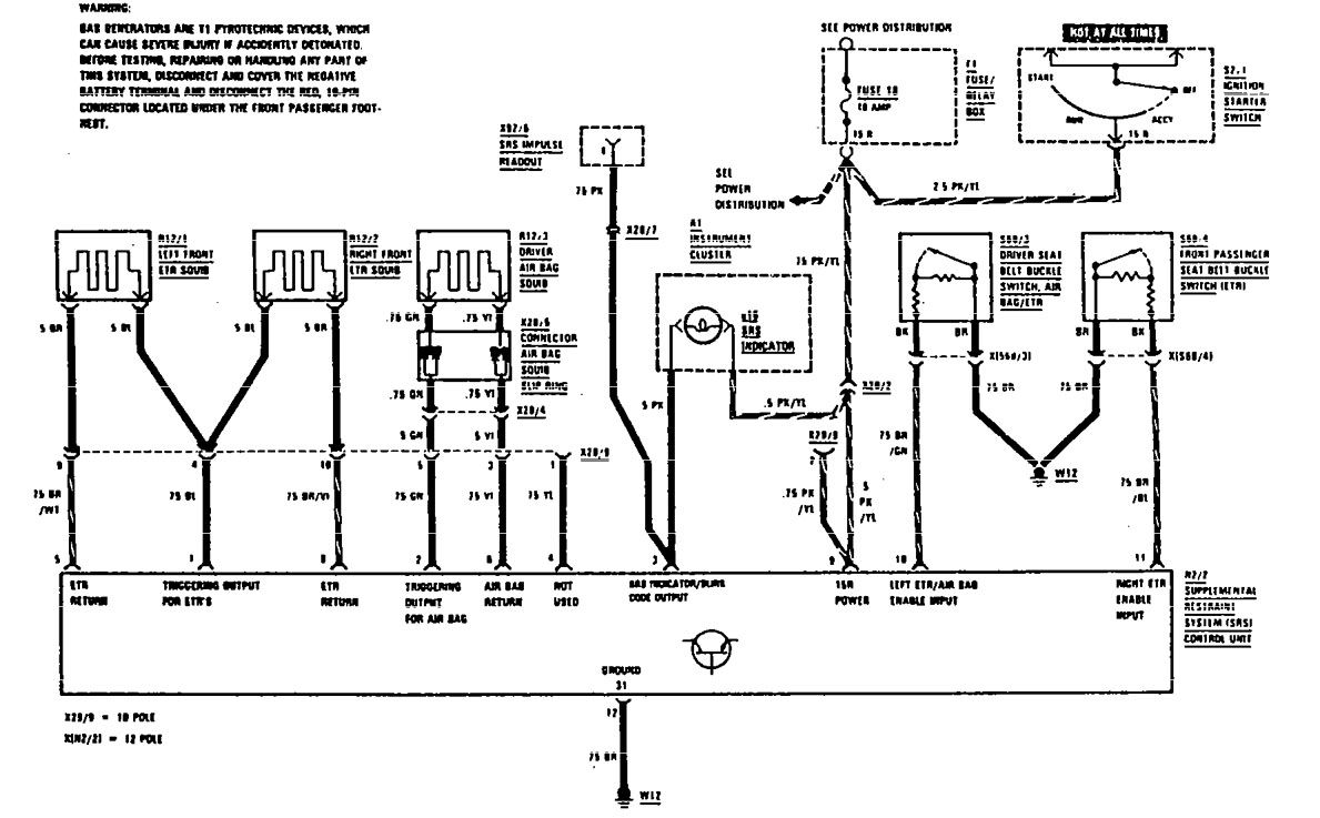 Mercedes benz 560sec 1990 wiring diagrams air bags carknowledge