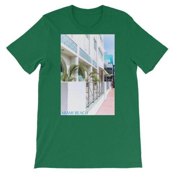Miami Beach Art Deco hotel - Carla Durham - - Carla in the City - short sleeve unisex t-shirt, kelly green