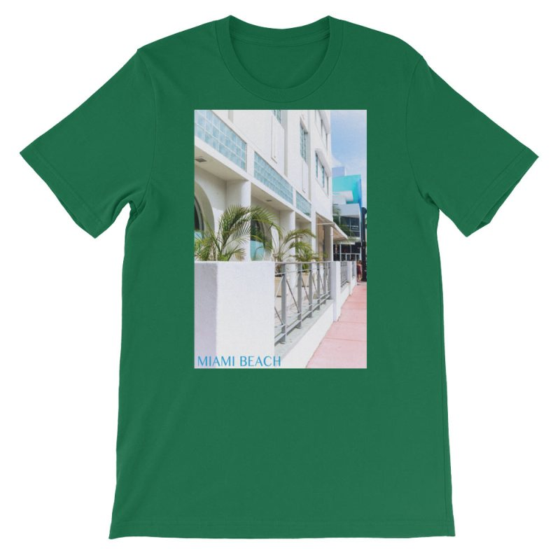 Miami Beach Art Deco hotel - Carla Durham - - Carla in the City - short sleeve unisex t-shirt, kelly green