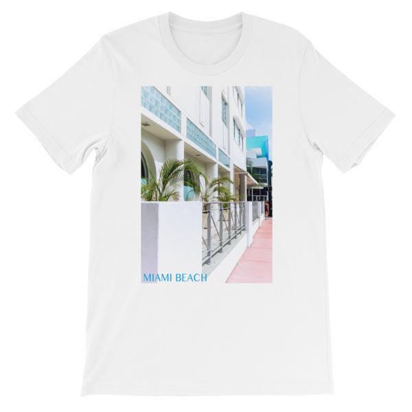 Miami Beach Art Deco hotel - Carla Durham - - Carla in the City - short sleeve unisex t-shirt, white