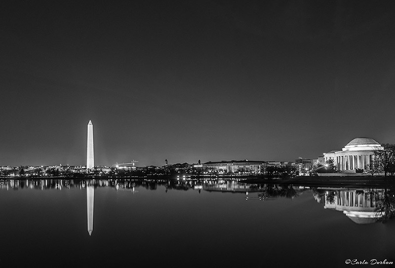 Washington, DC skyline at night in black and white - Carla Durham - Carla in the City