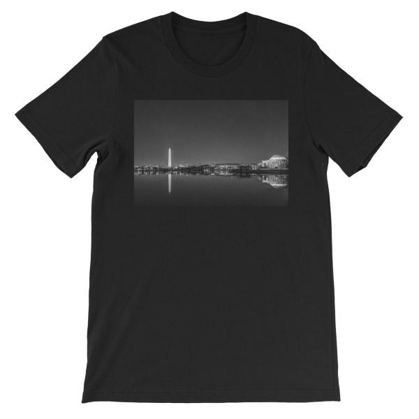 Washington, DC skyline at night in black and white - Carla Durham - - Carla in the City - short sleeve unisex t-shirt, black