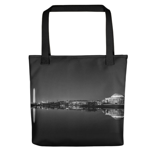 Washington, DC skyline at night in black and white - Carla Durham - Carla in the City - tote bag