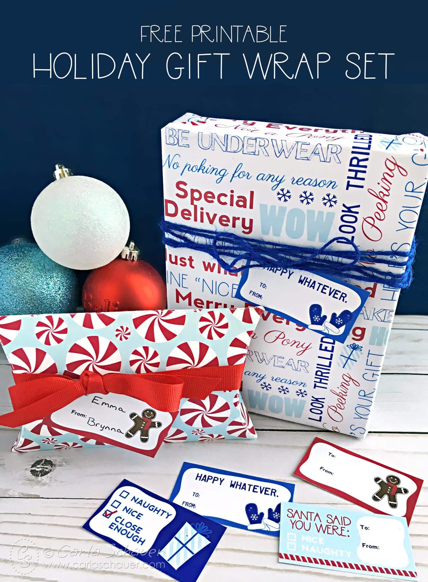 Printable Holiday Gift Wrap Set Carla Schauer Designs