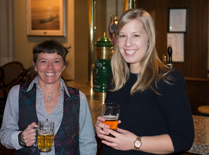 Zoe Panchen and Melissa Nacke relaxing at the bar after presenting