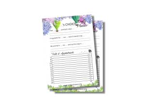 daily choice planner A5 with clouds of flowers background