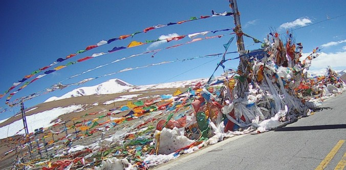 At the highest point of every pass there is colourful bunting.