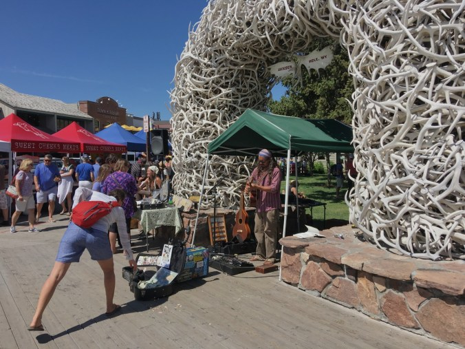 The famed elk antler arches that lead into the town's lovely, tree-shaded Town Square where locals and visitors come to relax or enjoy special events.