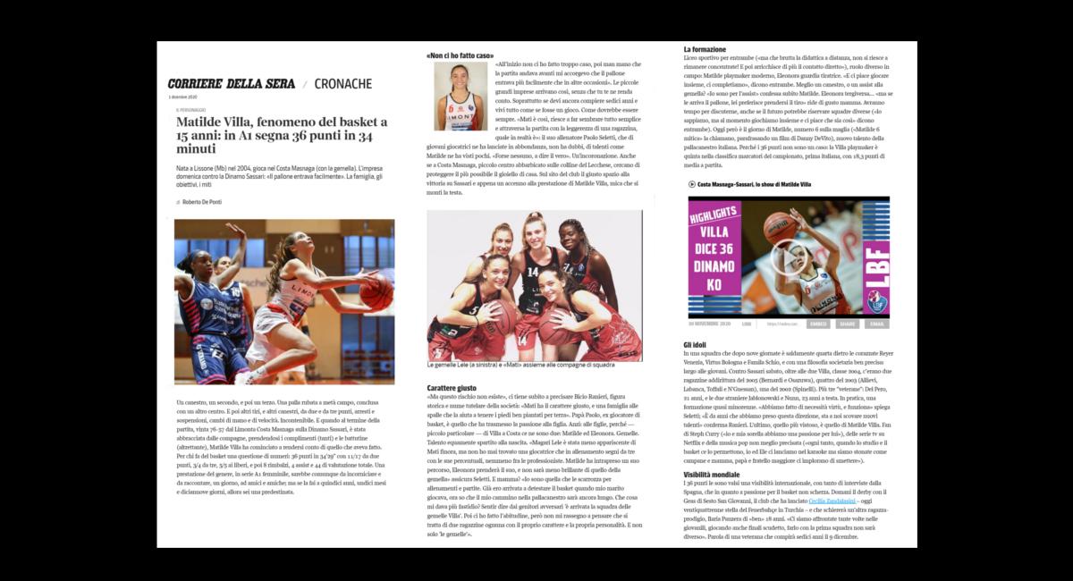 Corriere della Sera, l'intervista a Matilde Villa