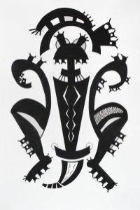S/T. Tinta y marcador sobre papel. 150 cm. x 95 cm. 2014