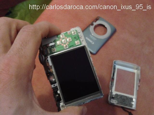 Visión desde el LCD camara Canon IXUS 95 IS desarmada
