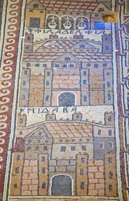 Ciudades de la Decápolis en mosaicos de San Esteban