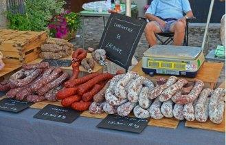 Mercado de productos locales en Najac