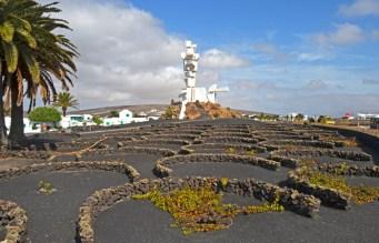 Monumento y cultivos típicos de vid