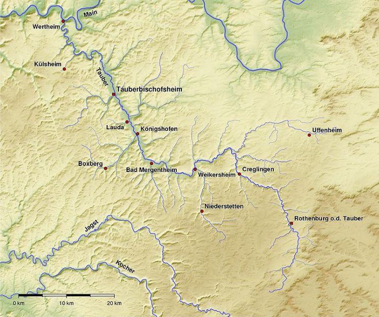 Mapa fisico del Valle del Río Tauber