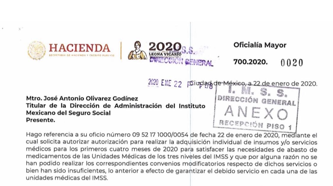 Un documento oficial interno, el gobierno admite su culpa en el desabasto de medicinas