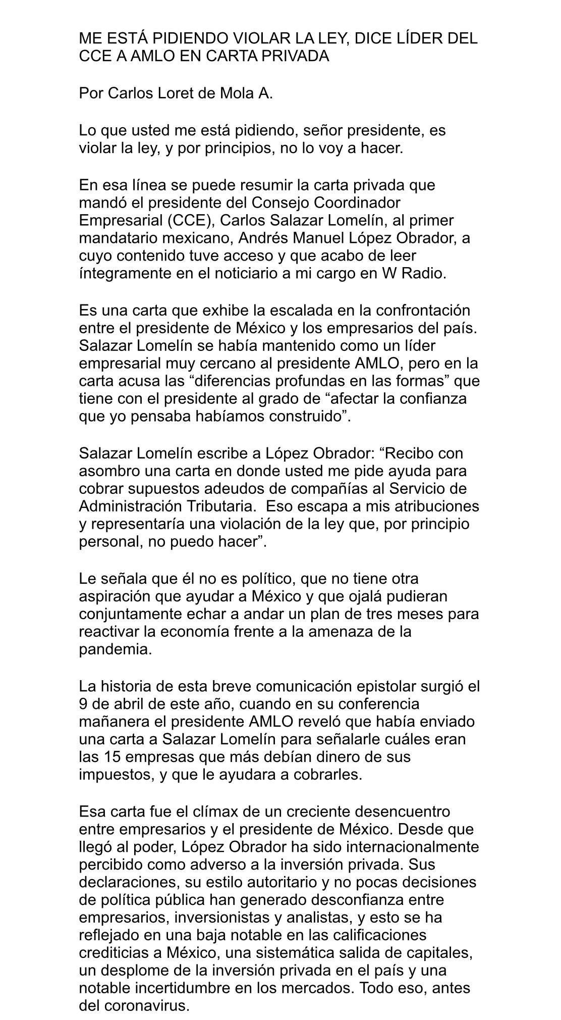 Carta del CCE al presidente AMLO