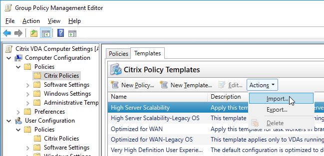 citrix docs group policy management template updates for xenapp and xendesktop contains additional templates that you can download and import