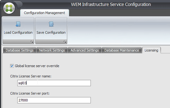 on the licensing tab configure the licensing server