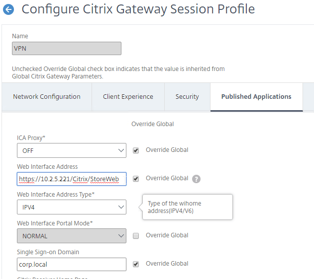 enable single sign on citrix