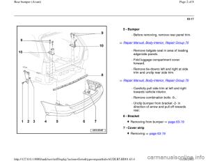 AUDI A4 2000 B5  1G Rear Bumper Avant Workshop Manual