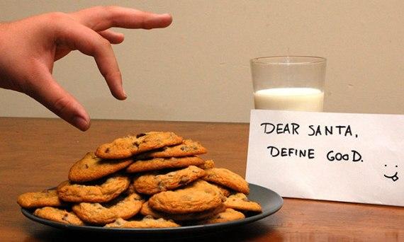 sneaking a santa cookie