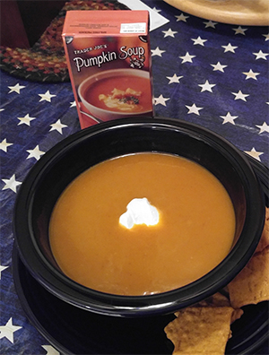 Trader Joe's Pumpkin Soup (served with sour cream)