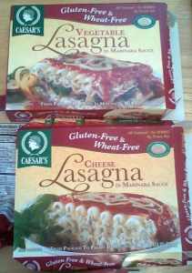 Caesar's frozen vegetable and cheese lasagnas