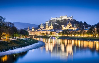 Historic town of Salzburg at dusk, Austria